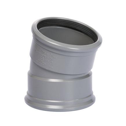 Pipelife pvc bocht 15°, 2x manchet, grijs, KOMO, SN8, 110 mm