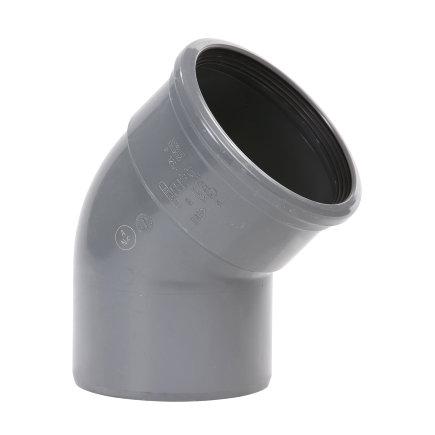 Pipelife pvc bocht 45°, manchet x spie, grijs, KOMO, SN8, 125 mm