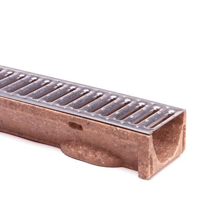 Anrin Entwässerungsrinne, Polymerbeton, Modell SELF-ECO, einschl. verzinktem Stegrost, L=100cm