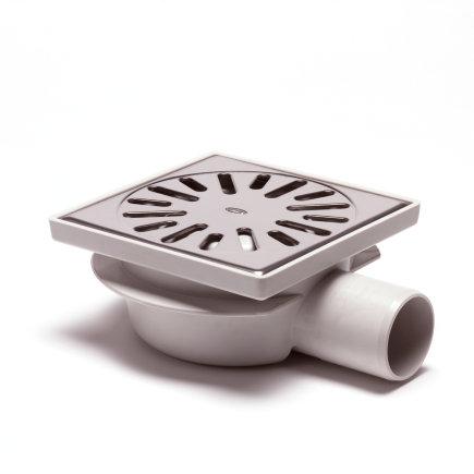 Abs vloerput met rvs rooster, laag model, niet in hoogte verstelbaar, 150 x 150 mm, zijuitlaat  default 435x435