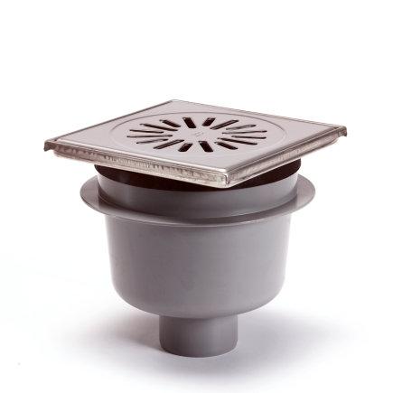 Abs vloerput + rvs opzetst.+rooster, h = verstel-, draai-+kantelbaar, 150x150 mm, onderuitlaat  default 435x435