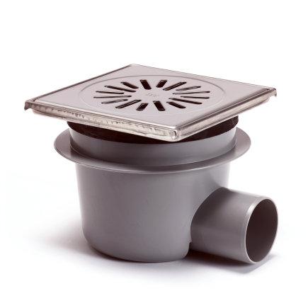 Abs vloerput + rvs opzetst.+rooster,in hoogte verstel-, draai-+kantelbaar, 150x150 mm, zijuitlaat  default 435x435