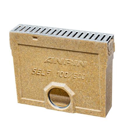 Anrin slibvangput voor lijngoot, type SELF-100, incl. rvs sleufrooster, met emmer, 50 cm