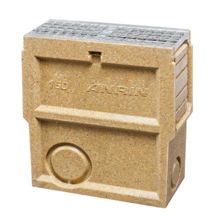 Anrin Einlaufkasten für Entwässerungsrinne, Mod. SELF-150, verz. Maschenrost u. Schlammeimer, 50cm