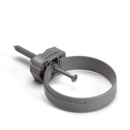 Pvc hwa beugel met onderblok en slagplug, grijs, 100 mm