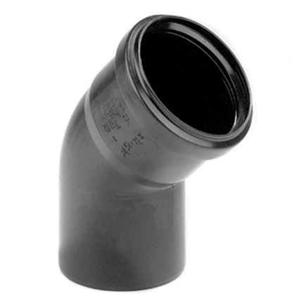 Dyka pp bocht, zwart, 45°, manchet x spie, KOMO, 75 mm