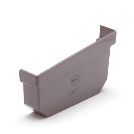 S-lon eindstuk, pvc, 95 mm, grijs, rechts