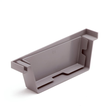 S-lon eindstuk voor bakgoot, pvc, links, 140 mm, grijs  default 435x435