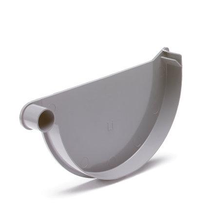 S-lon eindstuk voor mastgoot, pvc, lijm, links, grijs, 125 mm
