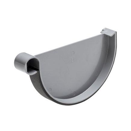 S-lon eindstuk voor mastgoot, pvc, klem, links, grijs, 180 mm
