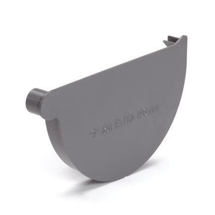 S-lon eindstuk voor mastgoot, pvc, lijm, rechts, grijs, 125 mm