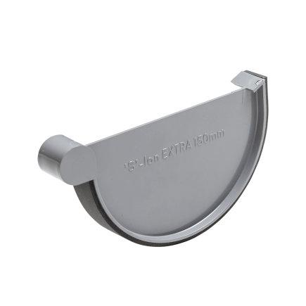S-lon eindstuk voor mastgoot, pvc, klem, rechts, grijs, 150 mm  default 435x435