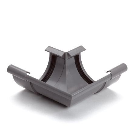 S-lon buitenhoekstuk voor mastgoot, pvc, klem, grijs, 125 mm
