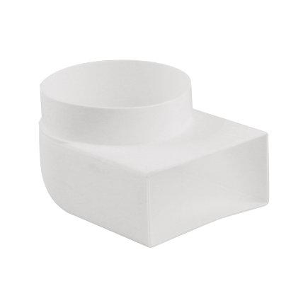 Nedco pvc overgangsstuk 90°, haaks, t.b.v. keukenventilatie, 2x inwendig lijm, 110 x 54 /Ø 100 mm