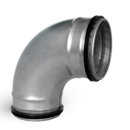 Spiraliet bocht 90°, met epdm ring, 2x verjongd spie, 125 mm