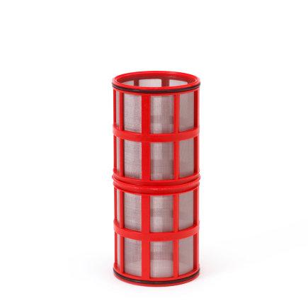 """Amiad cil.zeef tbv vloeistoffilter 2"""", d x l = 100 x 250 mm, zeefperf. 0,13 mm, rood"""