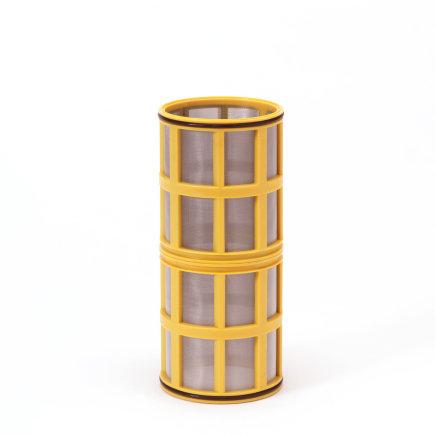 """Amiad cil.zeef tbv vloeistoffilter 2"""", d x l = 100 x 250 mm, zeefperf. 0,10 mm, geel"""