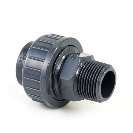 """VDL pvc 3-delige koppeling, inwendig lijm x buitendraad, 10 bar, 110 mm x 4""""  default 435x435"""