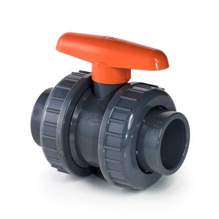 VDL pvc kogelafsluiter, 2x inwendig lijm/2x wartel, oranje handgreep, 16 bar, 16 mm, epdm