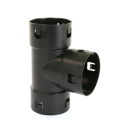 Klik T-stuk 90°, voor drainagebuis, pp, 100 mm