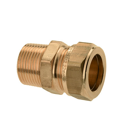 "Bonfix messing draadkoppeling, buitendraad x knel, 1"" x 28 mm, Kiwa ATA / Gastec QA"