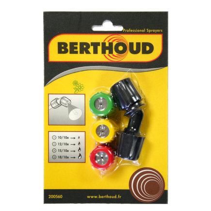 Berthoud 4-delige spuitkop, met 4x holle kegel spuitkop (10/10, 12/10, 15/10 en 18/10)