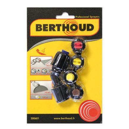 Berthoud spuitkopset voor onkruid, met 2x platte waaier, en 2x aambeeld spuitkop