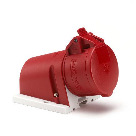 Mennekes CEE wandcontactdoos, 400 V, 4-polig, 16 A, rood, incl. kabelinvoer