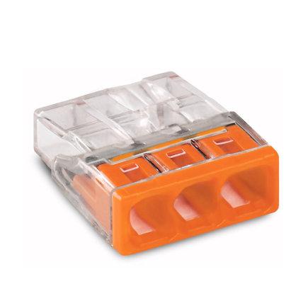 Wago lasklem, compact, transparant/ oranje, type 2273-203, 3x 0,5 - 2,5 mm²