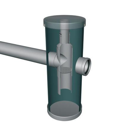 Kunststof zandvangput, voorzien van kunststof deksel, 2x 125 mm  default 435x435