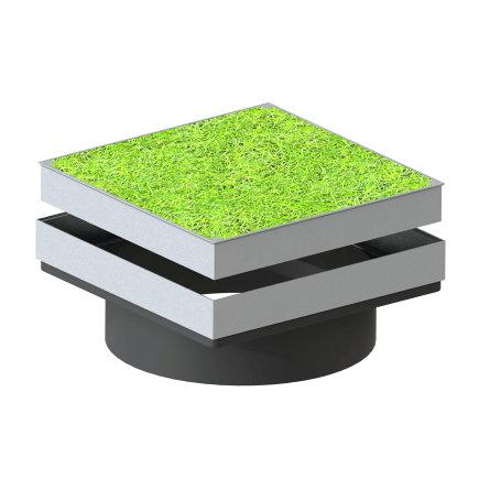 Varitank grasdekselset, vierkant, incl. schacht, rubberen afdichtingsring, drainplaat en geotextiel  default 435x435