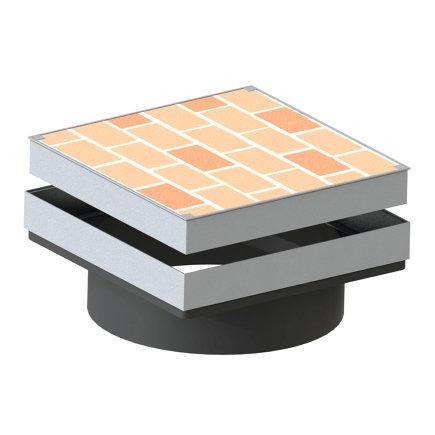 Varitank klinkerdekselset, vierkant, incl. 20 cm schacht, rubberen afdichtingsring en wapeningsnet  default 435x435