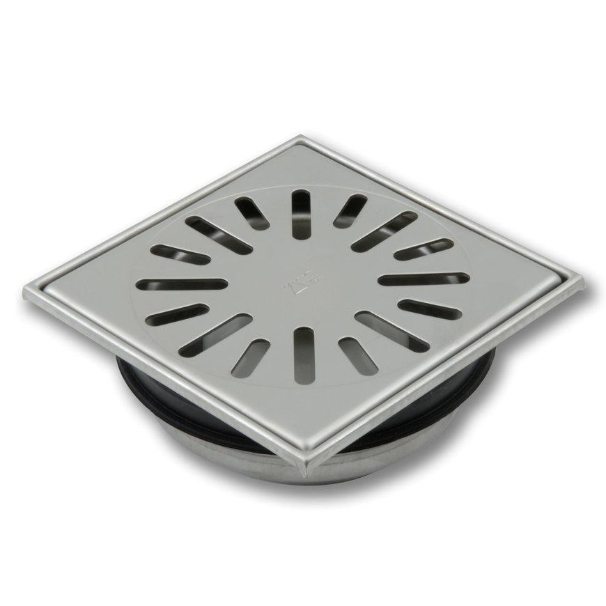 Vloerput, 150x150 mm, onderaansl 50 mm, rvs 304 put, h=verstelb, rooster 2 mm