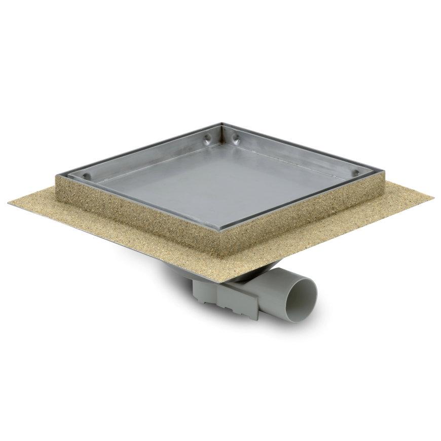 Tegelput, 200x200 mm, zijaansl 40 mm, rvs 304 put/tegeldeksel, vert/hor verstelb, cap 0,60 l/s  default 870x870