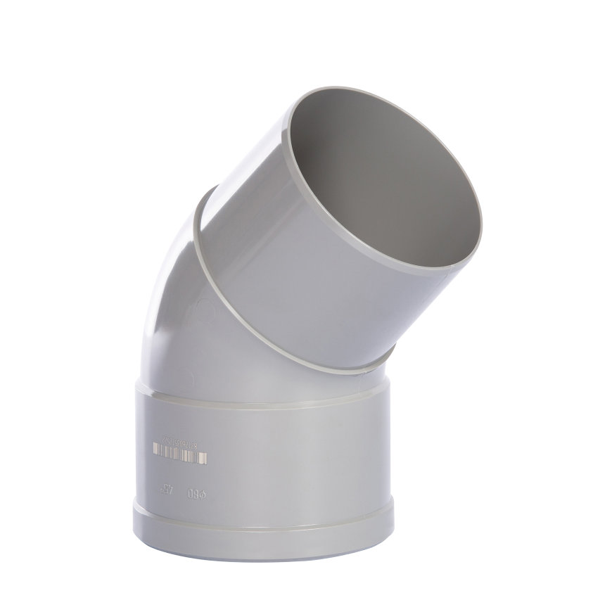 Pvc hwa bocht 45°, grijs, inwendig lijm x verjongd spie, 70 mm  default 870x870