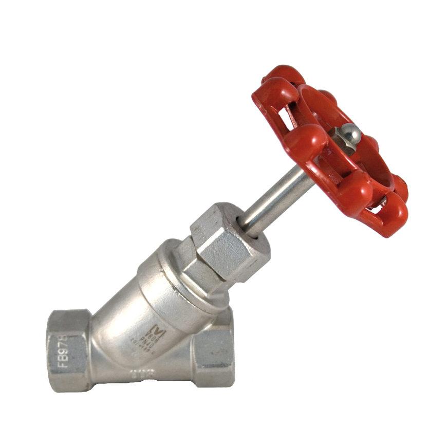 """Rvs Y-klepafsluiter, type V606, 2x binnendraad, PN 40, ¼"""""""