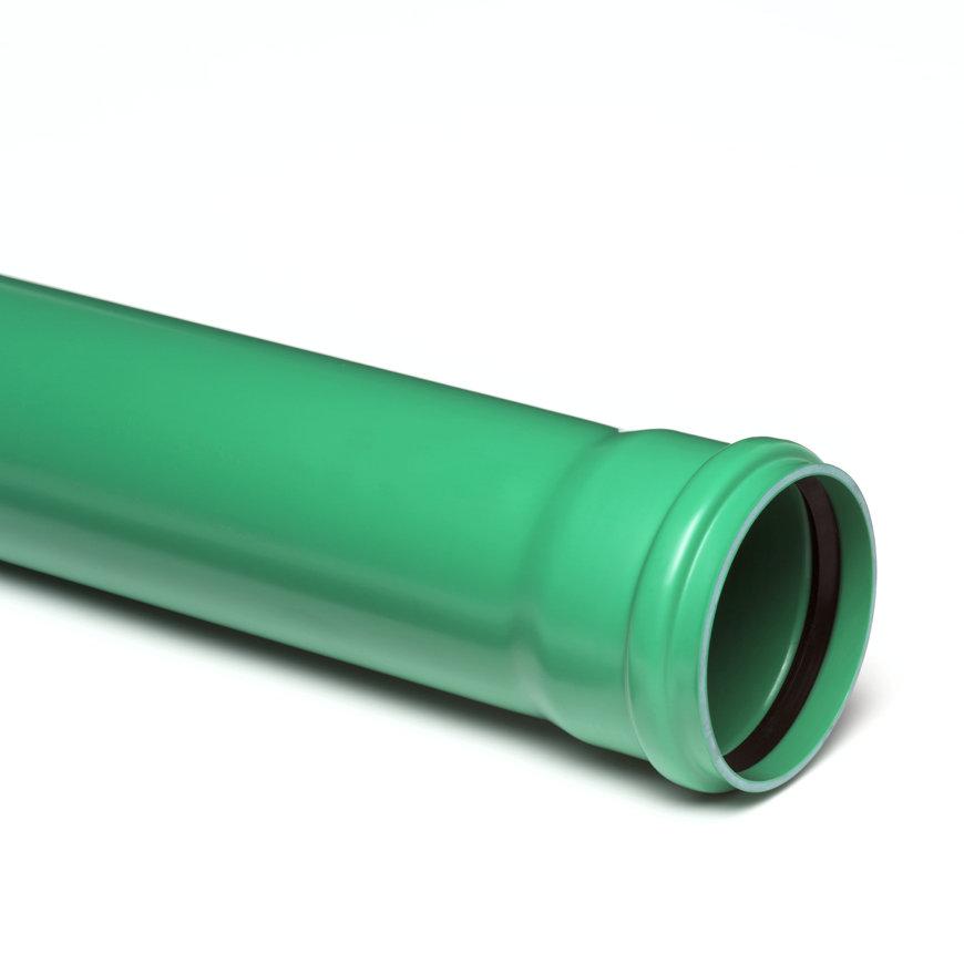 Pvc afvoerbuis met aangevormde manchetmof, groen, RAL 6024, KOMO, SN8, l = 5 m, 125 x 3,7 mm  default 870x870