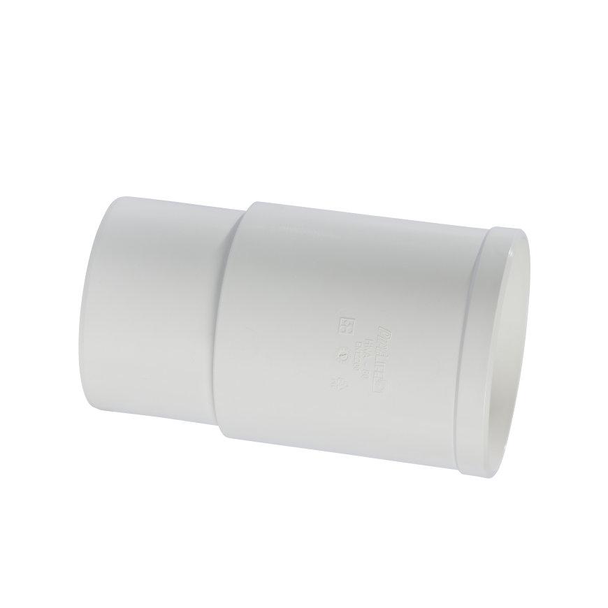 Pipelife verlengde hwa mof, pvc, inwendig lijm x verjongd spie, wit, 100 mm