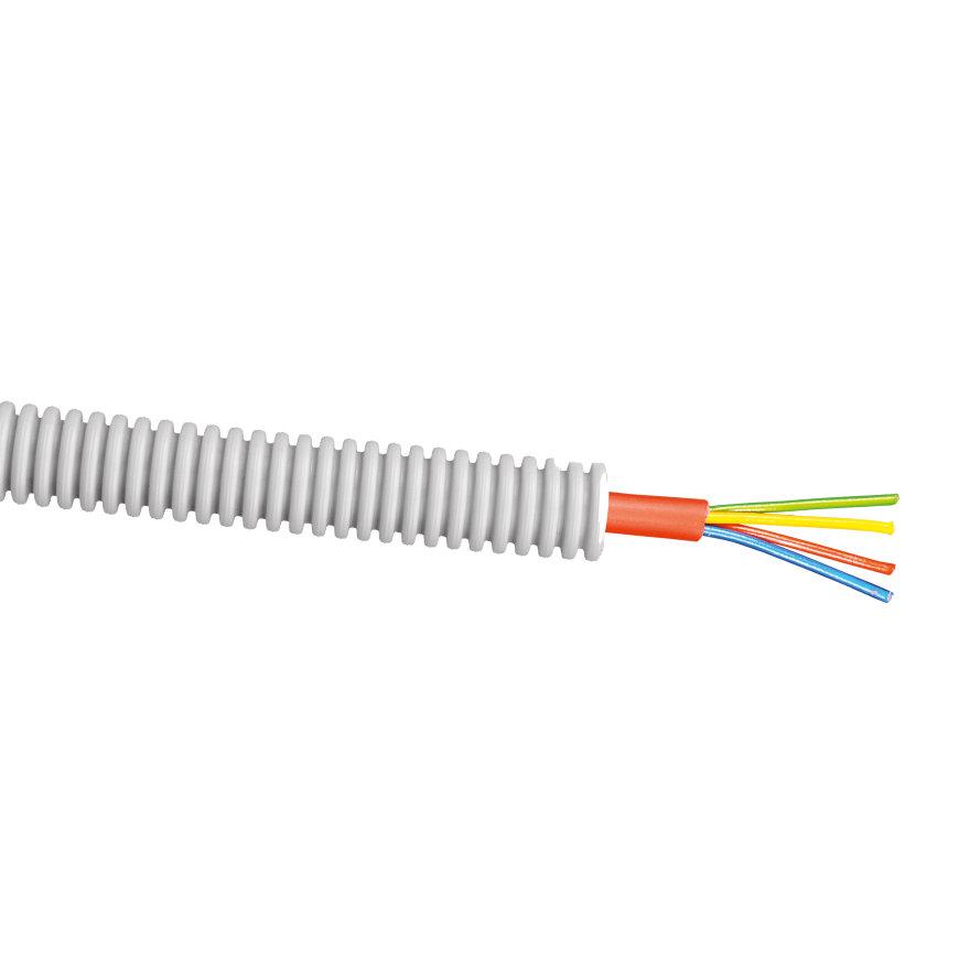 Snelflex voorbedrade flexibele buis met brandalarmkabel, 16 mm, YR-mb, rood, 2x 0,8 mm², 100 m