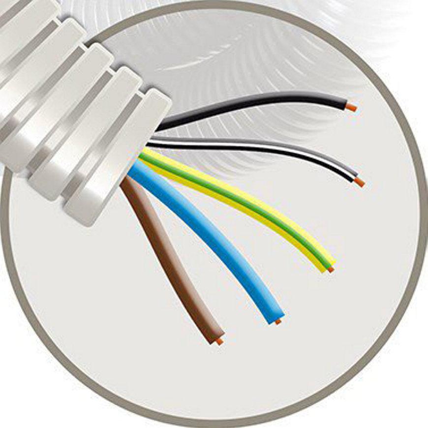 Snelflex voorbedrade flexibele buis met VD draad, 20mm, 3x 2,5mm² (br,bl,ge/gr)+2x 1,5mm² (zw), 100m