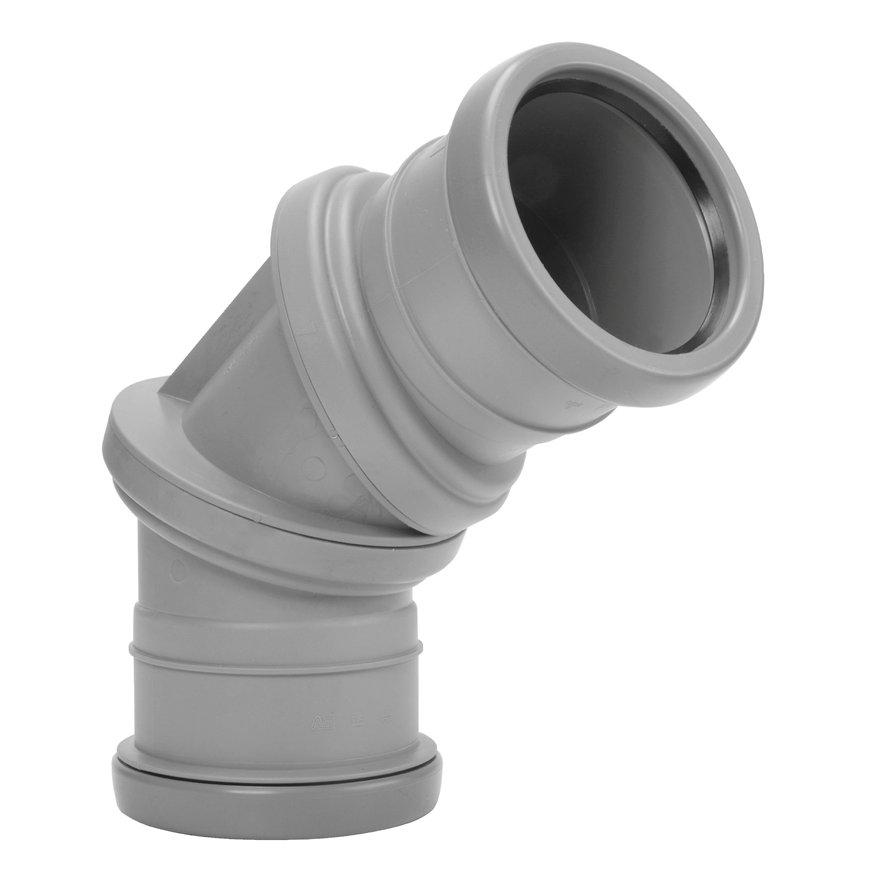 Airfit pp verstelbare bocht 0-90°, 2x manchet, grijs, 110 mm