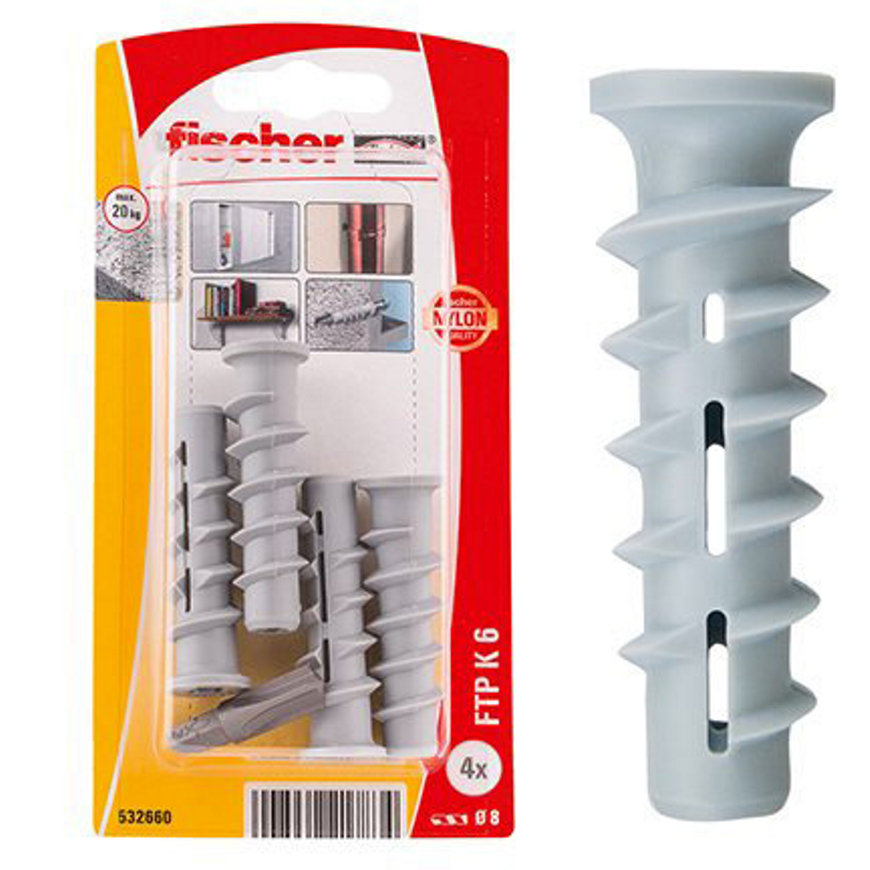 Fischer cellenbetonplug, type FTP K 4, 8 x 50 mm, K, blister à 4 stuks  default 870x870