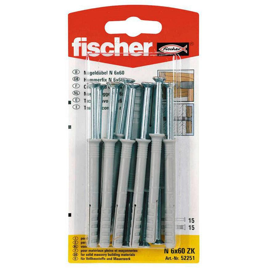 Fischer nagelplug, type N, 6 x 60 mm, blister à 15 stuks  default 870x870