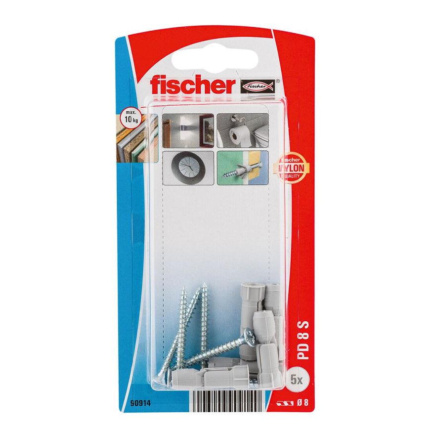 Fischer hollewandplug met spaanplaatschroef, type PD 8 S K, 8 x 30 mm, blister à 5 stuks