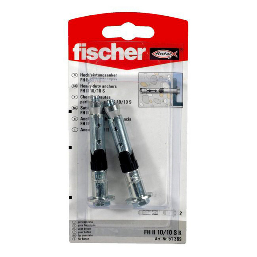 Fischer veiligheidsanker, type FH II, 10 x 75 mm, blister à 2 stuks