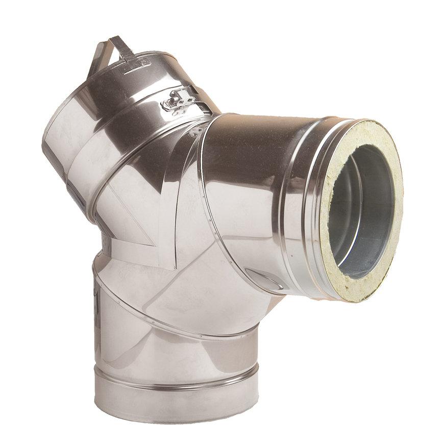 Dinak DW, rookgasafvoerbocht 87°, met inspectieluik, type 431, 130 mm  default 870x870