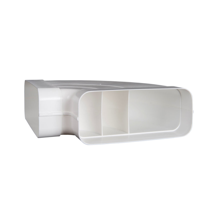 Nedco pvc bocht 90°, horizontaal, t.b.v. keukenventilatie, type Eco+, 220 x 90 mm