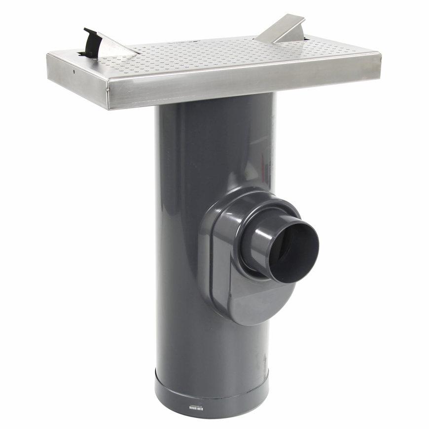 WESP afvoertegel, rvs 304, 600 x 300 mm, incl. 2x caravanaansluiting + onderbak/zandvanger 250mm  default 870x870