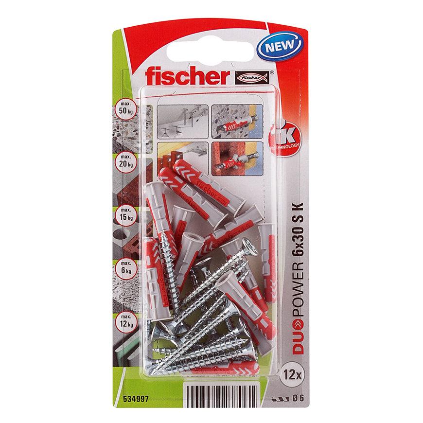 Fischer plug, type DuoPower, 5 x 25 mm, met spaanplaatschroef 4 x 30 mm, blister à 18 stuks  default 870x870