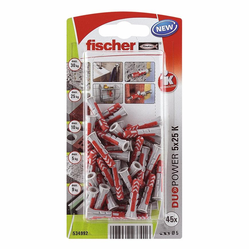 Fischer plug, type DuoPower, 5 x 25 mm, blister à 45 stuks